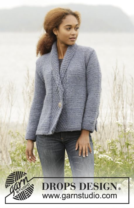 "Knitted DROPS jacket with double seed st in band and shawl collar in ""Eskimo"". Size: S - XXXL."