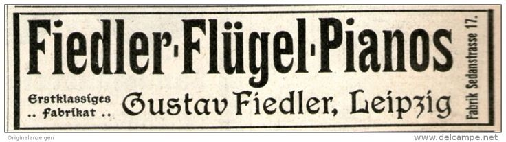 Original-Werbung/ Anzeige 1905 - FIEDLER FLÜGEL - PIANOS LEIPZIG  - ca. 90 x 20 mm
