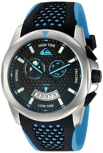 Quiksilver The Guide Men's Quartz Watch with Black Dial Analogue Display and Black Silicone Strap QS/1003BLSV
