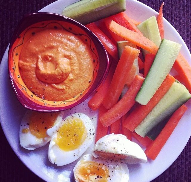 Easy Roasted Red Pepper Hummus - 1 can (250g) of chick peas - 2 ...