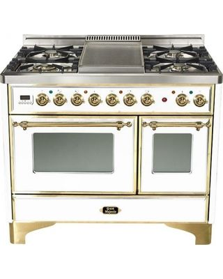 """Ilve Majestic UMD100FMPBNULL 40"""" Dual Fuel Range With 4 Burner  Griddle  Rotisserie  Convection Oven  Upper Element  Grill-baking  Multi-Gas Burners  Plate Warming Drawer  Brass Trim & In True White"""