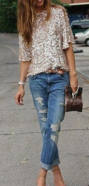 Boyfriend jeans n sequined tee...