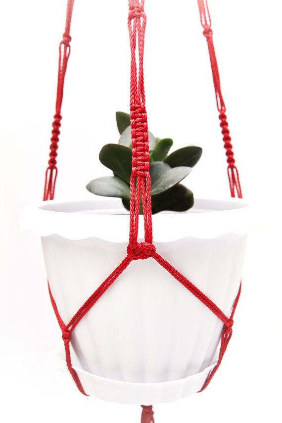 Red Macrame  Plant  Hanger 28 inches 3mm - Hanging Planter