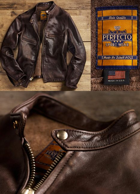 This would go perfectly with a good looking cafe racer. This is the Perfecto NYC rugged men's leather jacket.