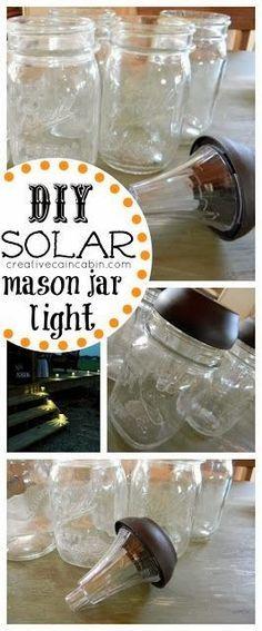Potes de vidro + lanterna solar = Luminária longa vida...rsrs... - *Decoração e Invenção*