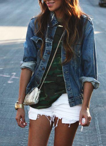 Sumner Fashion :  Blue denim jacket, camouflage teeshirt, white cut off shorts.