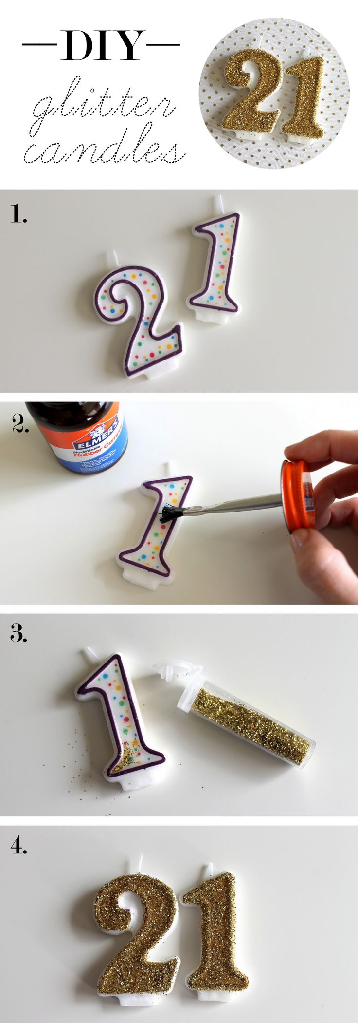glitter candle number DIY