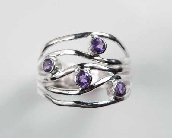 Amethyst Ring  Purple Wave Gemstone Ring  by FantaSeaJewelry, $94.00