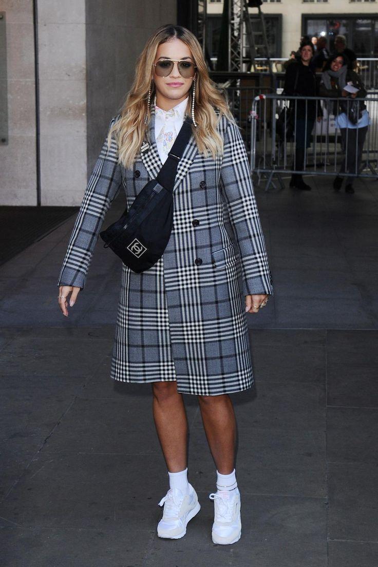 Rita Ora wearing Tom Ford Connor Sunglasses, Fay Fall 2017, Reebok Royal Nylon Sneakers and Chanel Sports Line Waist Bag