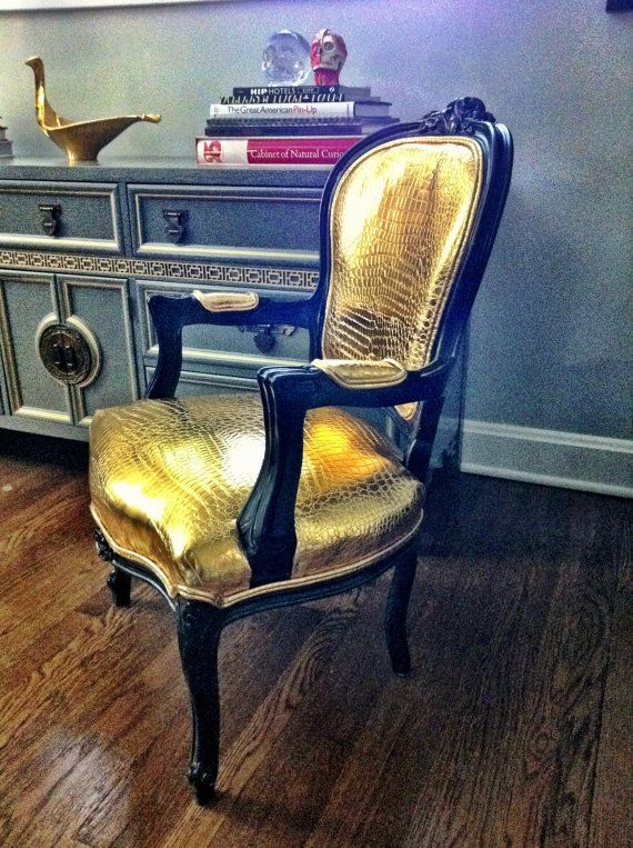 Hollywood Regency Patent Gold Alligator Chair.