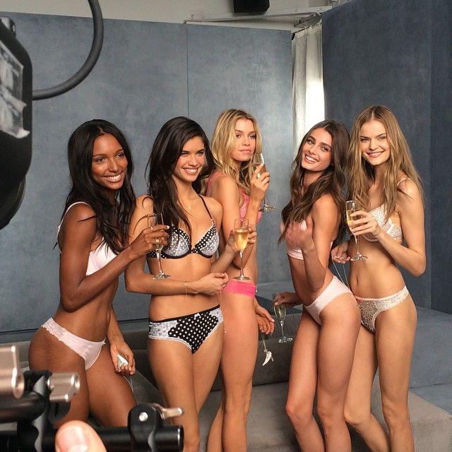 Jasmine Tookes, Sara Sampaio, Stella Maxwell, Taylor Hill and Kate Grigorieva celebrate the VS shoot.