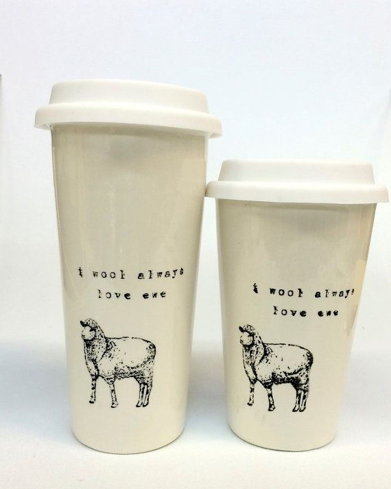 I Wool Always Love Ewe sheep pun funny ceramic travel mug
