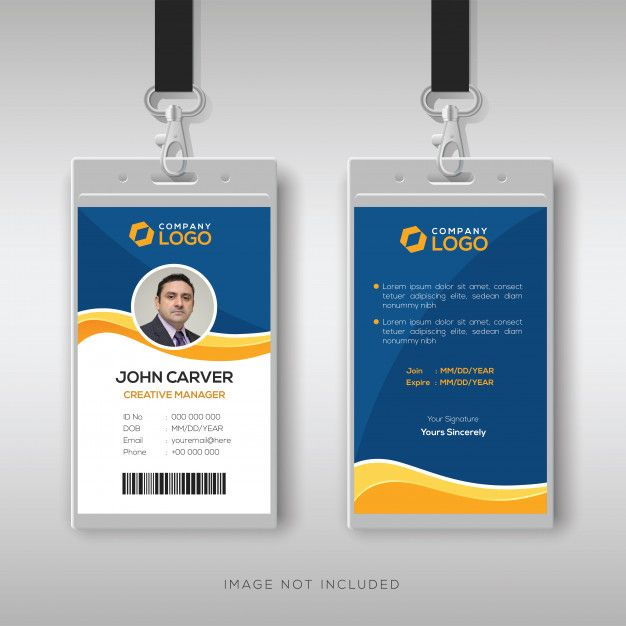 Blue Id Card Template With Yellow Details Id Card Template Free Printable Business Cards Card Template