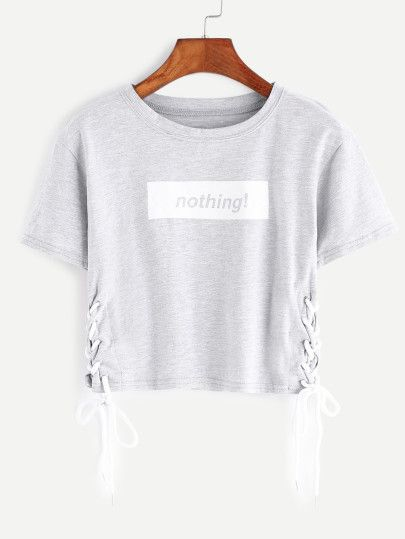 Heather Lettera Grigio Stampa Lace Up Side Crop T-shirt