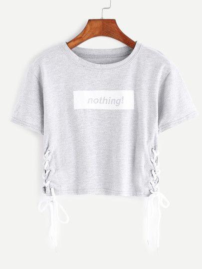 Camiseta corta con estampado de letra con cordón en la parte lateral - gris