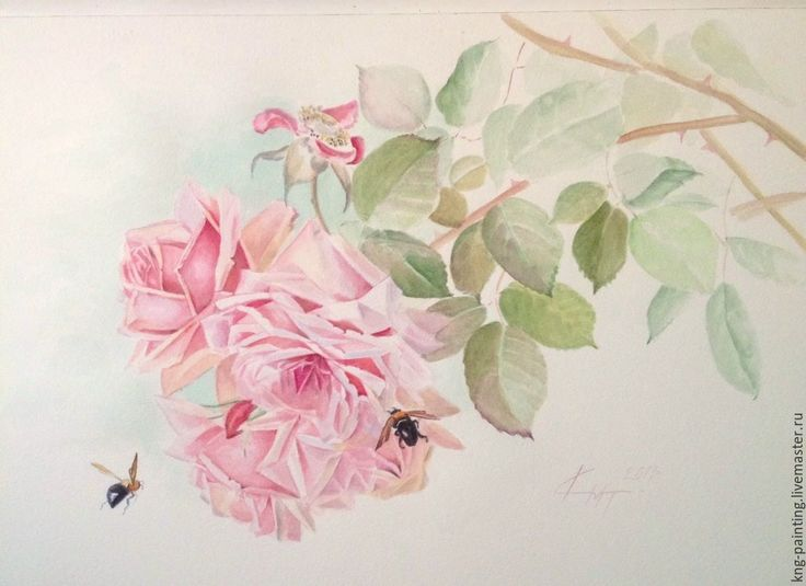 Купить Розы и шмели. - бледно-розовый, розы, шмель, шебби стиль, шеби-шик, ретро
