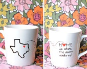State or Country Heart Mug - Going Away Present, Going Away Gift, Moving Away, Long Distance Relationship, Adoption- Customize. $20.00, via Etsy.