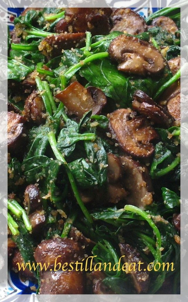 Mushrooms with Spinach & Lemon Breadcrumbs. Easy enough for weeknights. Elegant enough for #Thanksgiving. Please visit www.bestillandeat.com for recipe and subscribe for more SIMPLY.GORGEOUS.FOOD