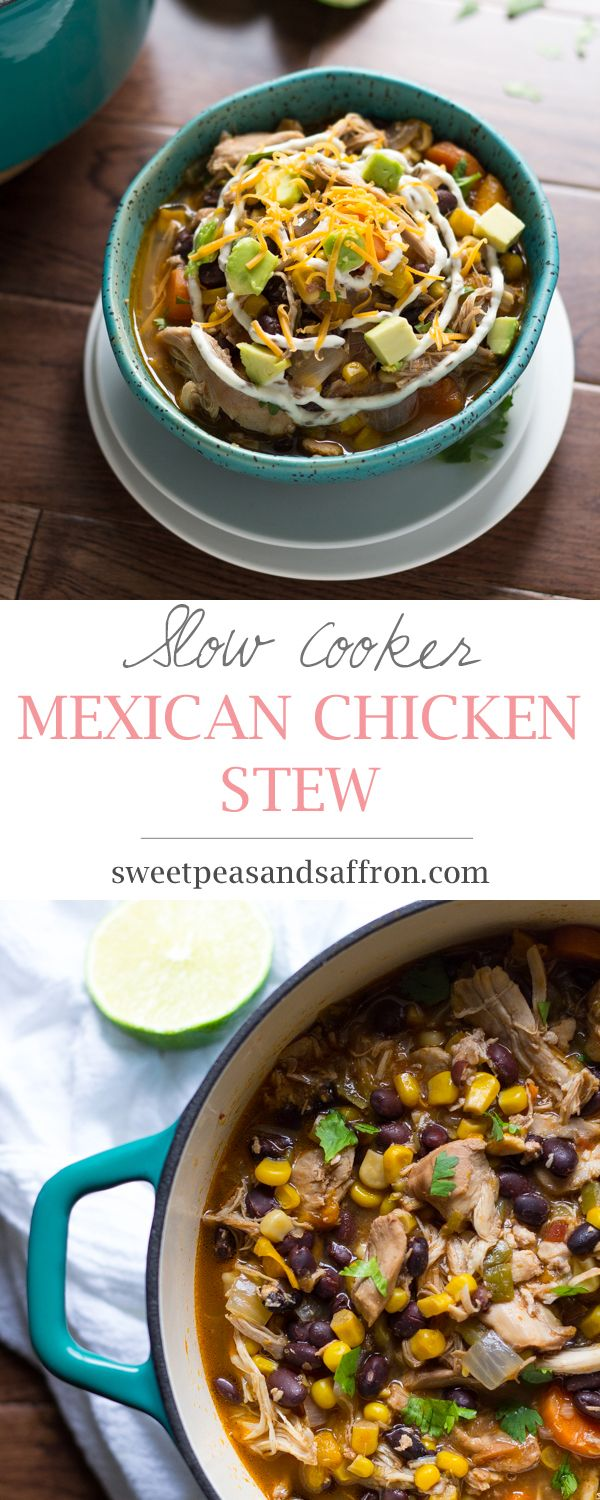 Slow Cooker Mexican Chicken Stew with Black Beans, Corn, and Avocado. Let the slow cooker do all the hard work on this one! (My slow cooker is a Le Creuset in the oven on a low temperature. It does the same thing.)