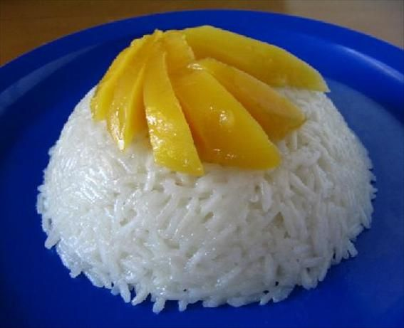 Thai Coconut-Mango Sticky Rice - made this for dinner but just cooked the milk, water and sugar all together.  A real hit with mango!