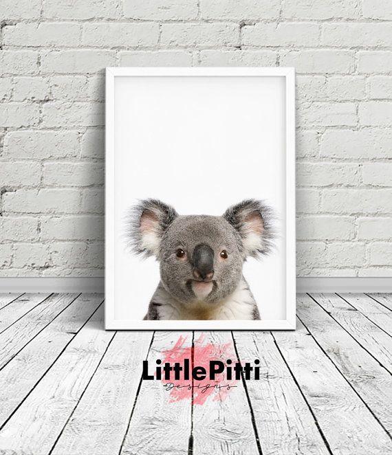 Koala print, cute animal print, printable wall art, baby room print, animals print, baby girl print, animal print nursery, koala wall art