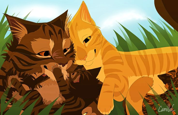 Tigerstar And Goldenflower With Their Kits Bramblekit And