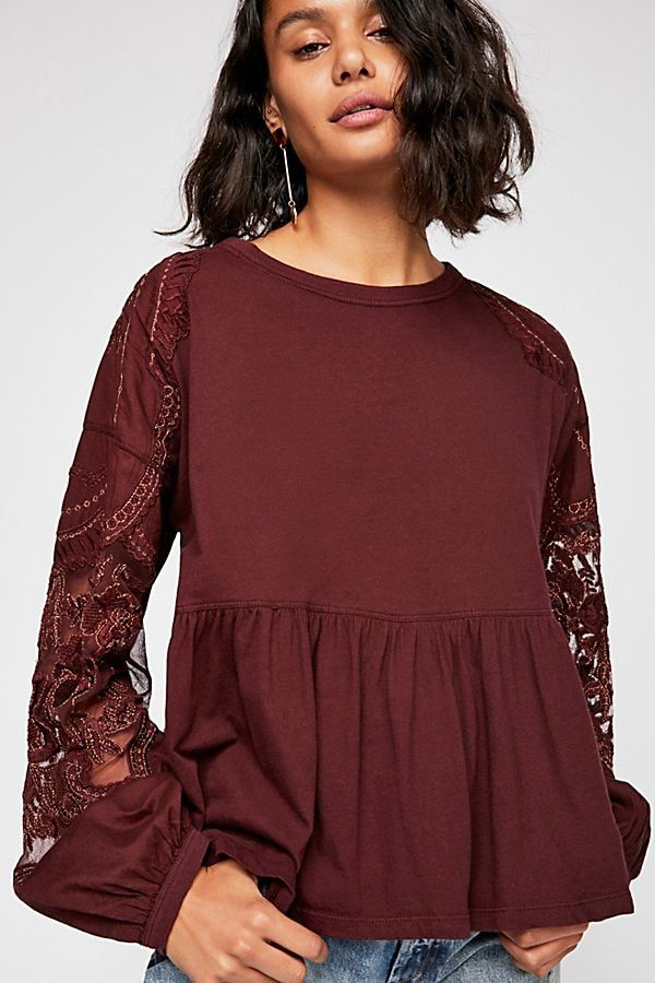 4bf58721f743 Embroidered Penny Tee - Wine Colored Long Sleeve Baby Doll Top with Sleeve  Details