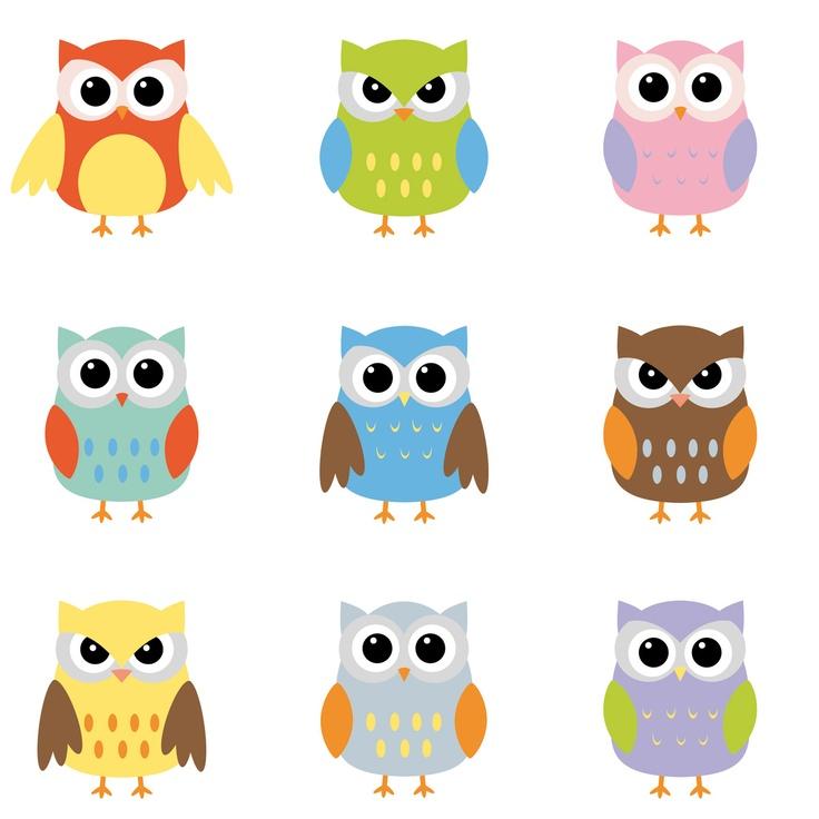 Owl Wohndesign: Bild Iuliia Melnyk - Color Owls Clip Art