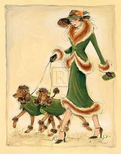Vintage card pretty lady with poodles