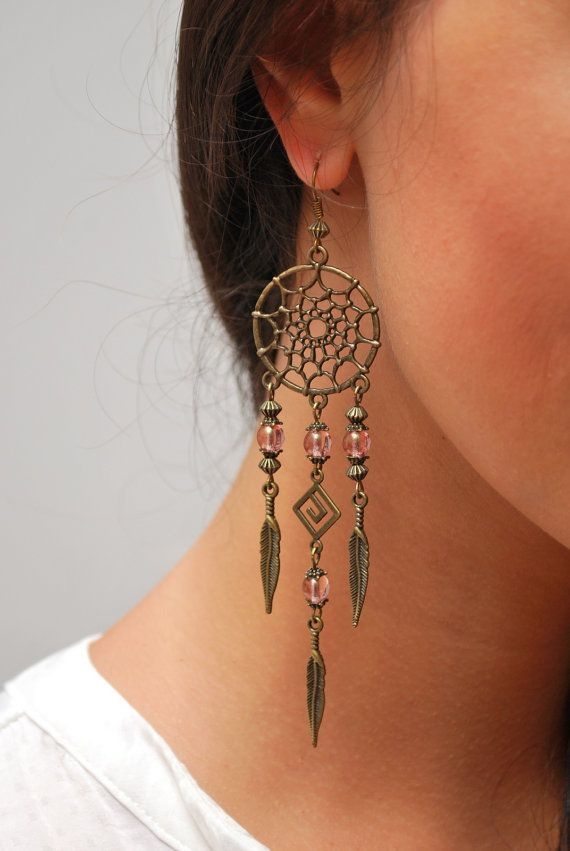 nice Boho Dream Catcher earrings, hippie earrings, DreamCatcher summer earrings, feather earrings, bohemian earrings, gypsy, long earrings. SALE!