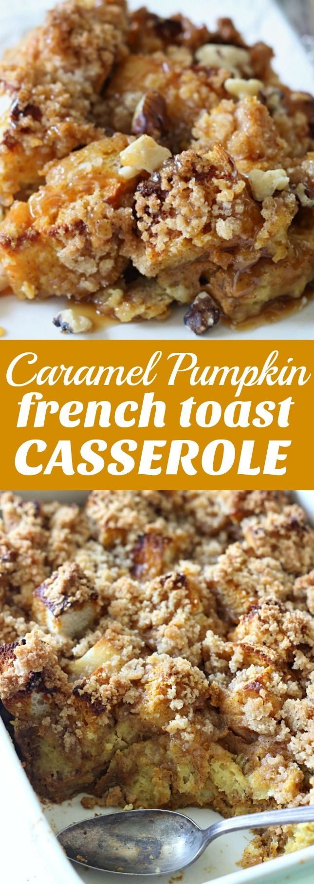This Caramel Pumpkin French Toast Casserole is my family's favorite fall breakfast! Perfect for a special breakfast or brunch. #CartwheelForCreamer #ad