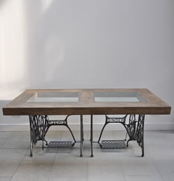 Ines Coles' dining table made from Singer sewing machines
