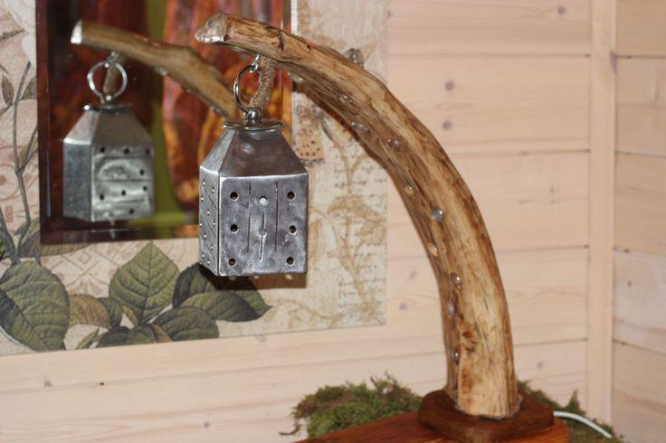 lampada GNOMOWOOD legno driftwood ferro taverna studio lamp rustico handmade E14