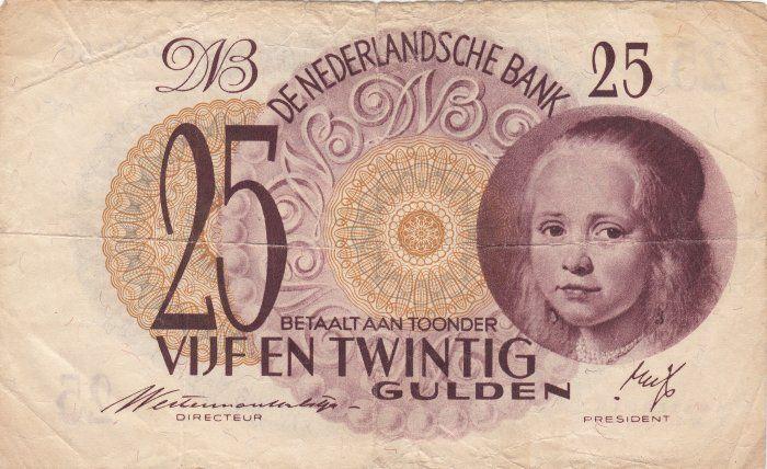 25 gulden Nederland, 1945 - 1947, Meisje in het Blauw: een portret van Johannes Corneliszoon Verspronck.