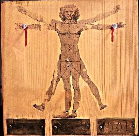 """ Kill your idol ""  - collage on wood -   Artist: Andrei Cornea"