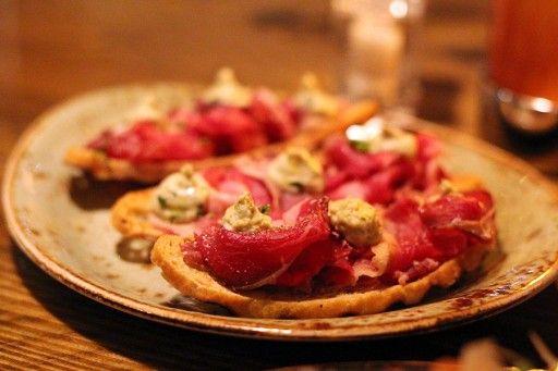 Bruschetta with ham and garlic butter