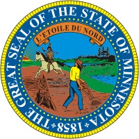 The Great Seal of the State of Minnesota. Minnesota became a state back in 1858.
