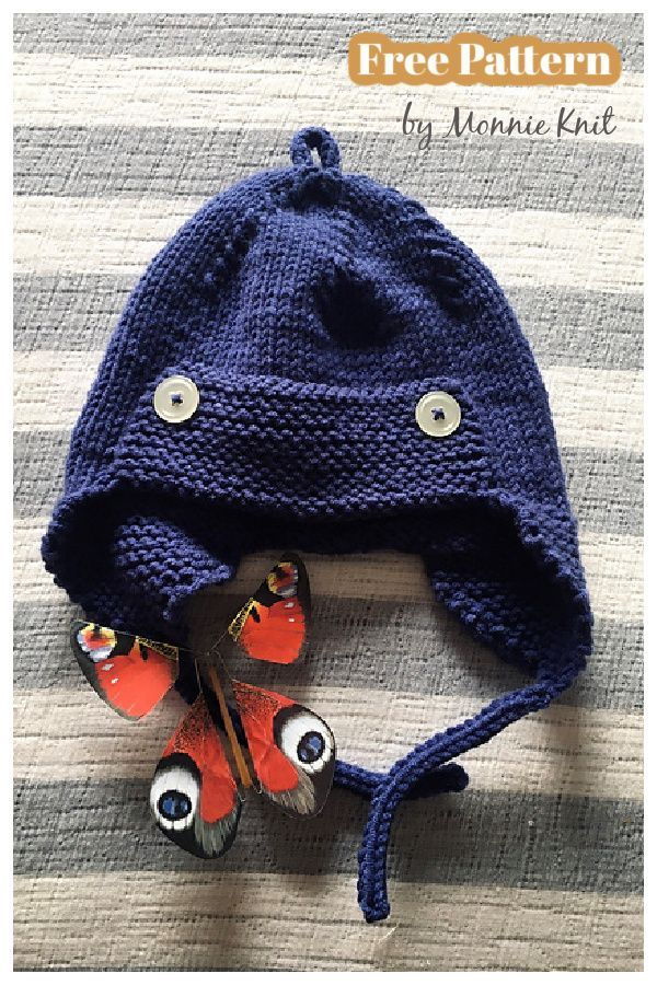 Hand Knitted Baby Aviator Hat with Matching Booties