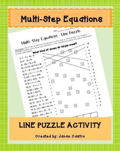 Multi-step equations- Algebra Line Puzzle activity for middle school or high school.