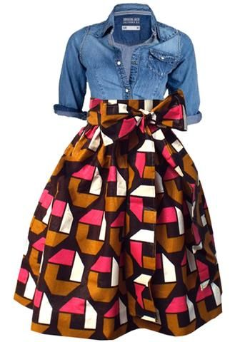 Chioma African Print High Waist Full Skirt (Brown/Pink)