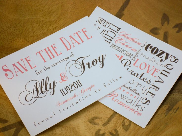Savannah Destination Wedding Save the Date Cards. $2.50, via Etsy.