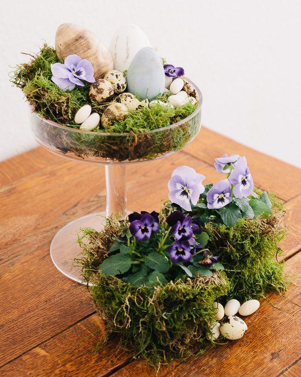 easter ostern deko dekoration moos eier stiefmütterchen