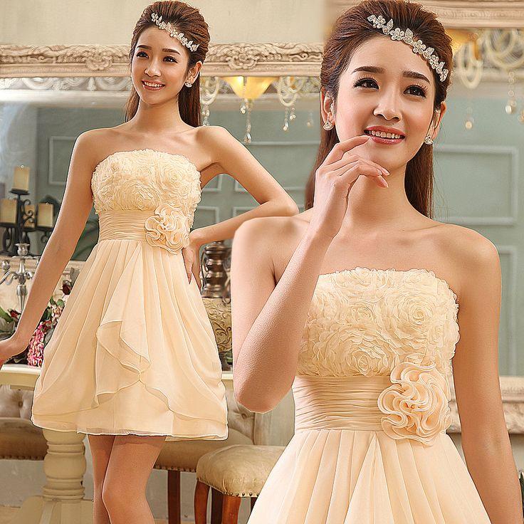 Diseño corto vestido de dama de honor de la parte superior del tubo vestido de dama de honor y las hermanas de color champán vestidos princesa uno- pieza