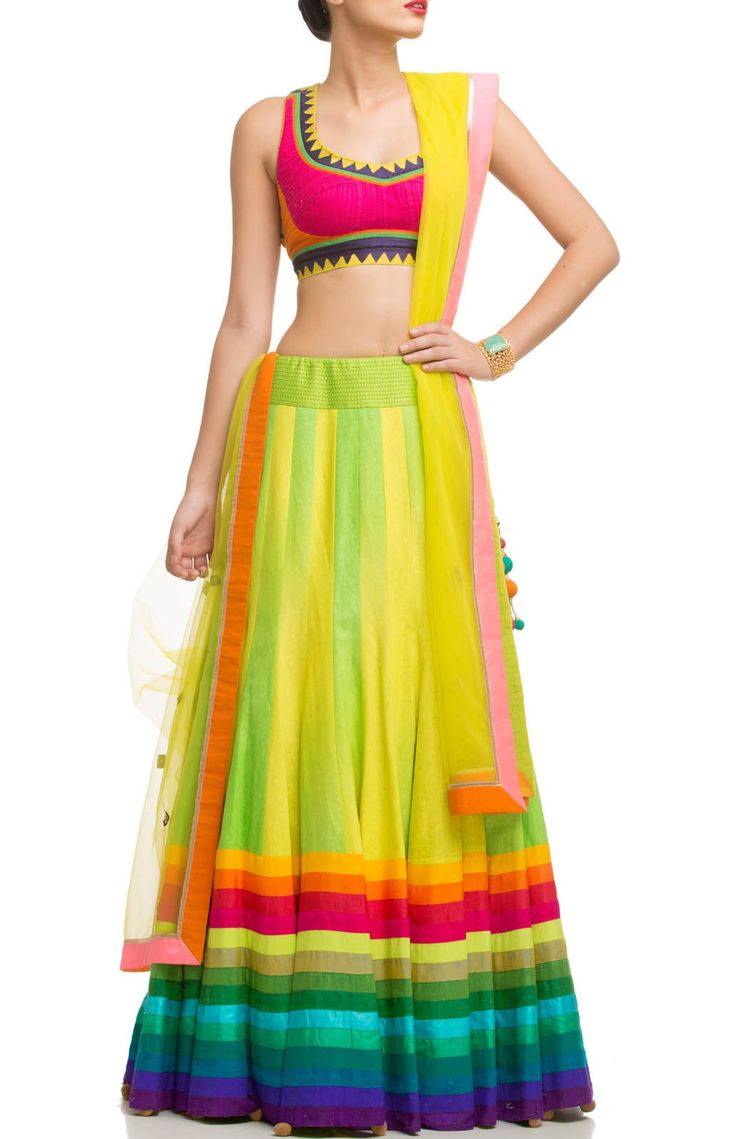 Raw silk Net bordered lehnga With mirrorwork and colourful Border Dupatta @Looksgud.in #Colourful #bordered