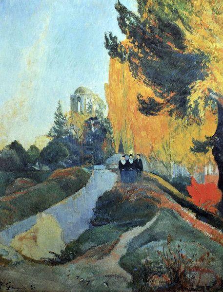 "Paul Gauguin - Post Impressionism - Les Alyscamps - Landscape ""the Alyscamps"" - 1888"