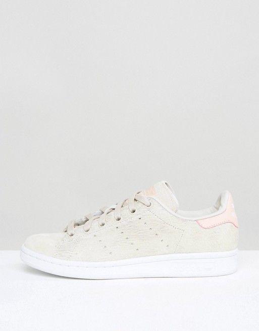 Adidas   Кремовые фактурные кроссовки с розовыми вставками на задниках adidas Originals Stan Smith
