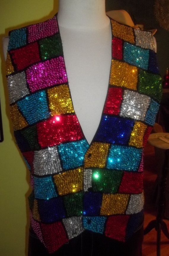 FUN Sparkly Colorblock Sequin Vest by RevampedResale on Etsy, $29.95