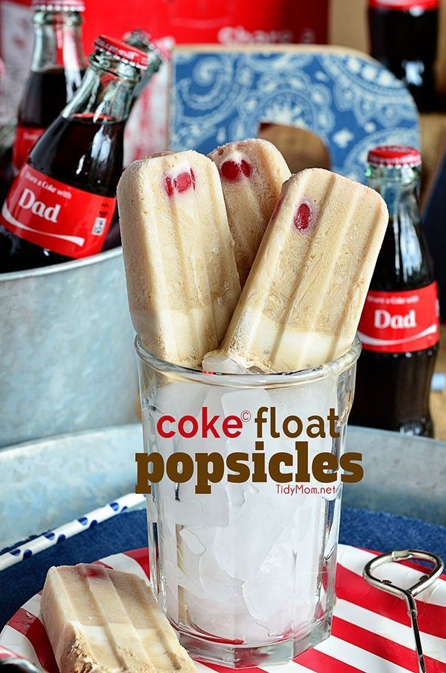 Coke Float Popsicles.  Ice cold Coca-Cola with vanilla ice cream and a cherry on top all frozen together for one delicious treat!