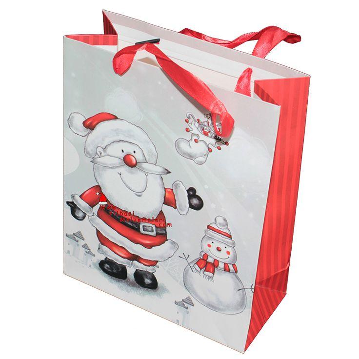 Noel Baba Figürlü Karton Yılbaşı Çantası Büyük Boy | Yılbaşı Kutu ve Çantaları | Pandoli | Parti Malzemeleri ve Doğum Günü Süsleri Partidolu.com