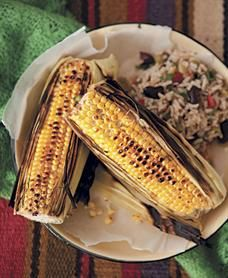 Lime buttered corn with Mexican brown rice